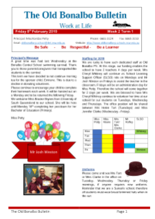 First page Term 1 Week 2 newsletter