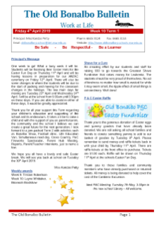 First page Term 1 Week 10 newsletter