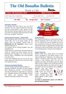 First page Term 3 Week 8 newsletter